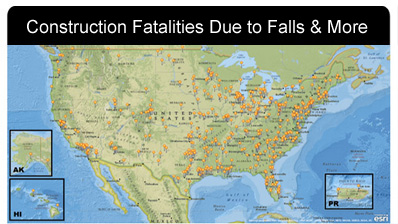 2011 Construction Fatalities in the US Map