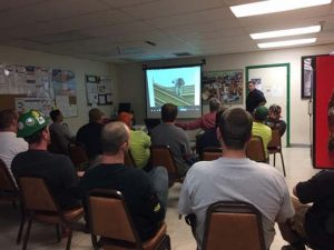 Above: Alberto Garcia leads the fall protection awareness safety training program.